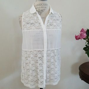H & M Divided Lace Button Down